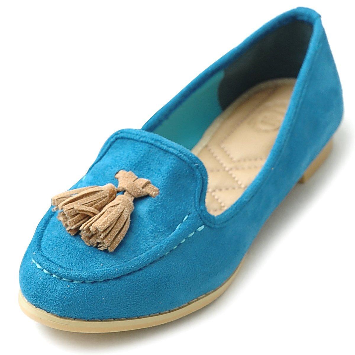 Ollio Women's Ballet Shoe Tassel Faux-Suede Cute Flat B00GFXBVPO 10 B(M) US|Blue