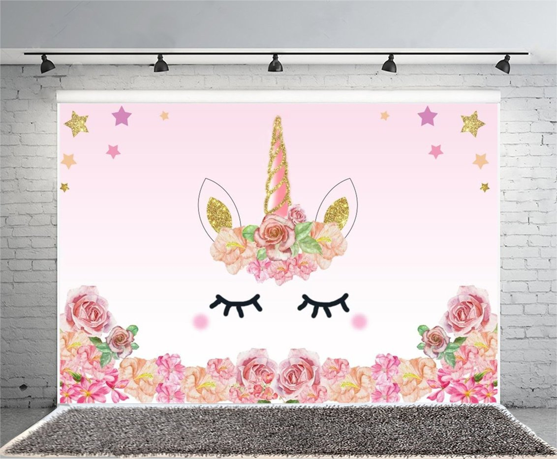 Laeacco 7x5FT Vinyl Backdrop Pink Unicorn Party Photography Background Roses Flowers Edge Pattern Sweet Cute Gold Star Background Birthday Baby Shower Ifant Toddlers Girls Photo Backdrop Studio Props by Laeacco