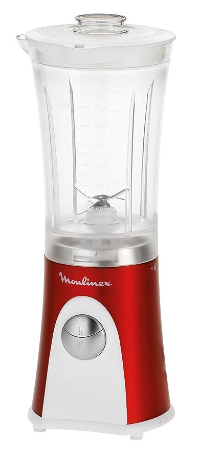 Moulinex LM125G31 - Batidora de vaso, 350 W, 2 velocidades, vaso de plástico de 0,8L, color rojo