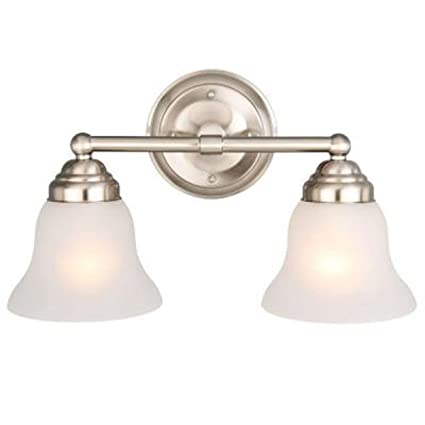 Hampton bay 2 light brushed nickel vanity