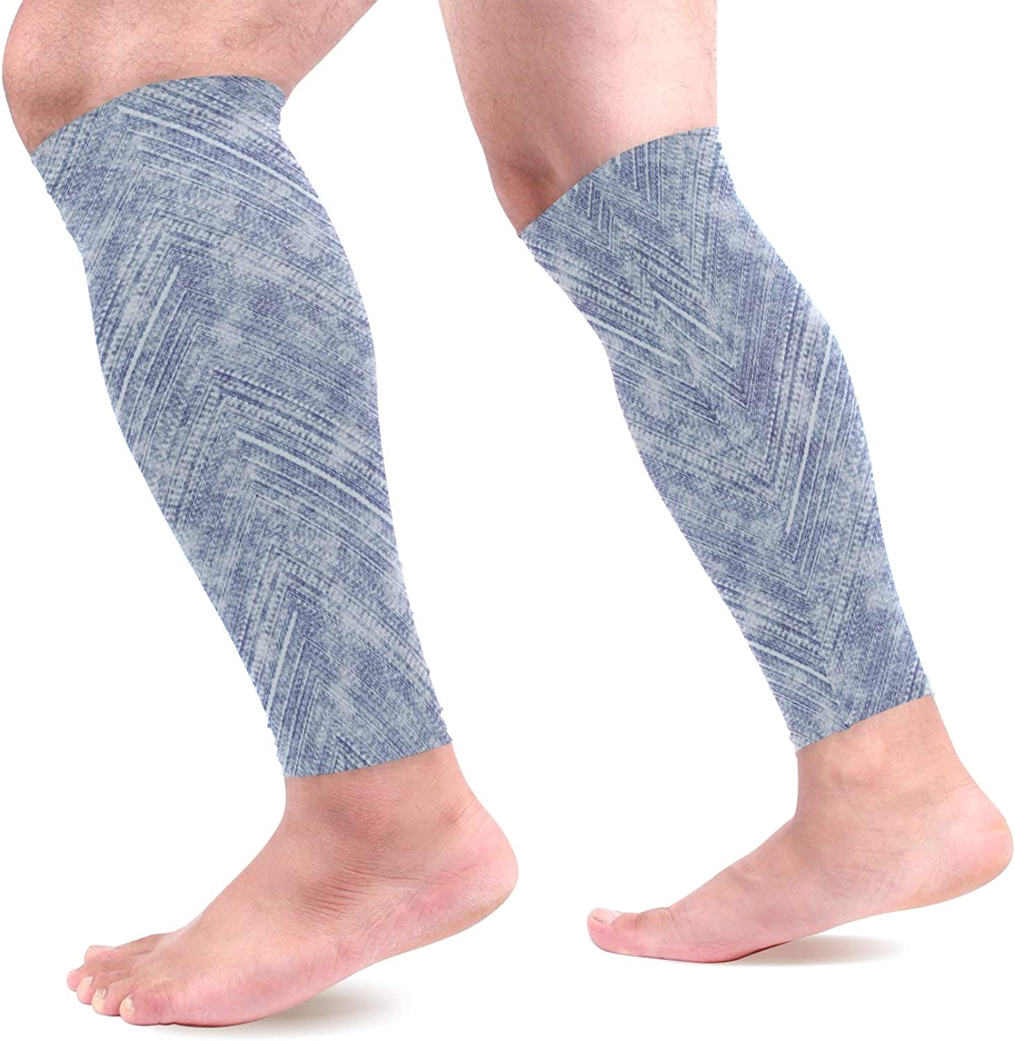 visesunny Summer Abstract Printing Sports Calf Support Sleeves for Muscle Pain Relief, Improved Circulation Compression Effective Support for Running, Jogging,Workout,Recovery(1 Pair)