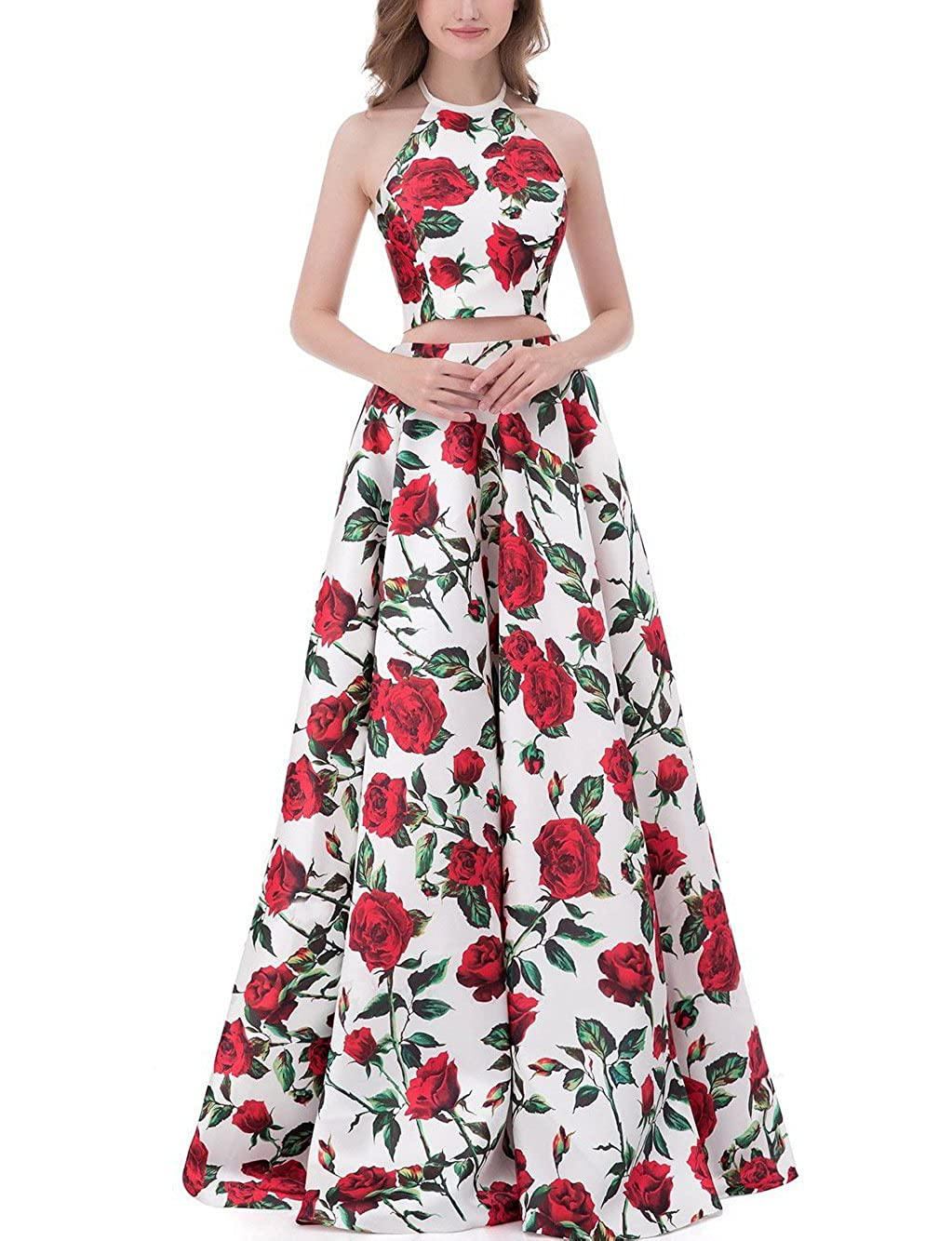 b7f7ecd08a Yiweir Women s Floral Two Piece Prom Dresses 2018 Long Halter Formal  Evening Gowns YF005 at Amazon Women s Clothing store