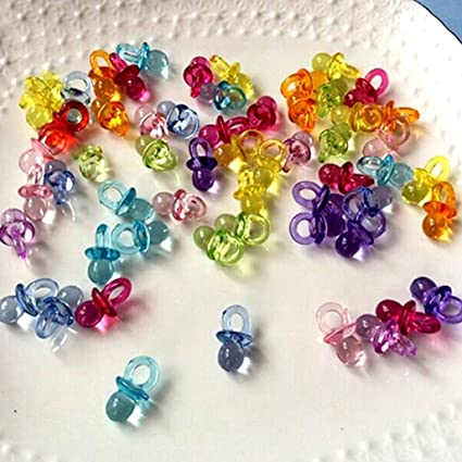 50 Pcs Clear Acrylic Mini Pacifiers Baby Shower Party Favors Dummy Decor Table Scatter (Multicolor)