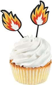 Fire Plastic Cupcake Picks - Bulk set of 25 - Birthday Party Supplies - Superhero and Firefighter Themed Events