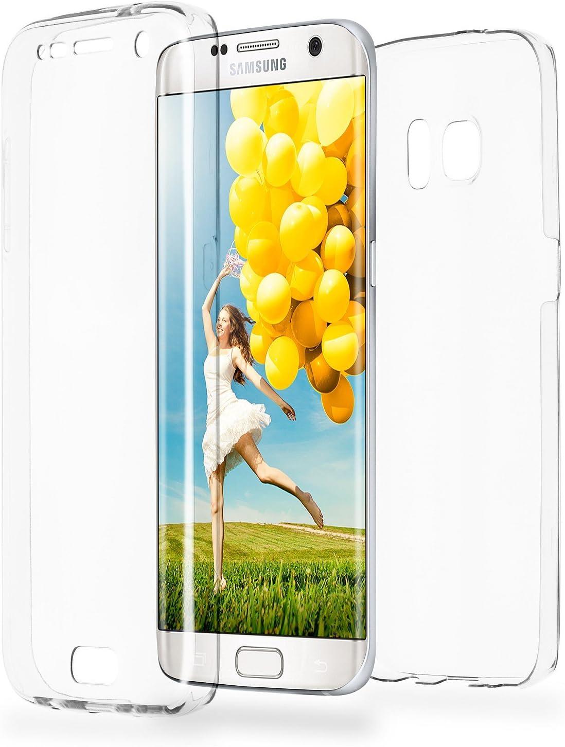 MoEx Funda Protectora 360º de Silicona Compatible con Samsung Galaxy S7 Edge   Transparente, Transparent