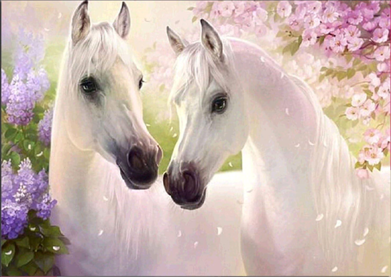 Equipo de pintura por números con brillantes 5D,Pinturas diamantes motivo de caballos blancos, con diamantes de imitación tipo punto de cruz, manualidad para decoración de la pared del hogar30 x 40 cm