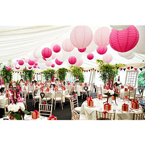 Marquee wedding decorations amazon 18 pack white pink hot pink round paper lantern lamp shades for wedding marquee birthday junglespirit Image collections