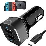 Chargeur de Voiture Allume-Cigare 2 Ports 5V 4.8A Charge Rapide pour Nintendo Switch Compatible avec Smartphone Tablette avec 6.6ft/2m Câble USB Type C, Noir