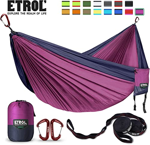ETROL Large Hammock Camping Lightweight Parachute Portable Hammocks for Travel, Indoor, Outdoor Backpacking, Beach Includes Tree Straps and Aluminum Alloy Carabiners