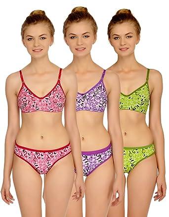 4a632a6b92e3 Fashion Comfortz Women's Cotton Bra Panty Set (Pink, Purple, Green, 32):  Amazon.in: Clothing & Accessories