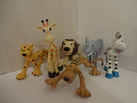 Mister A Gift set of 6 JUNGLE ANIMALS Plastic Cake toppers: Amazon ...