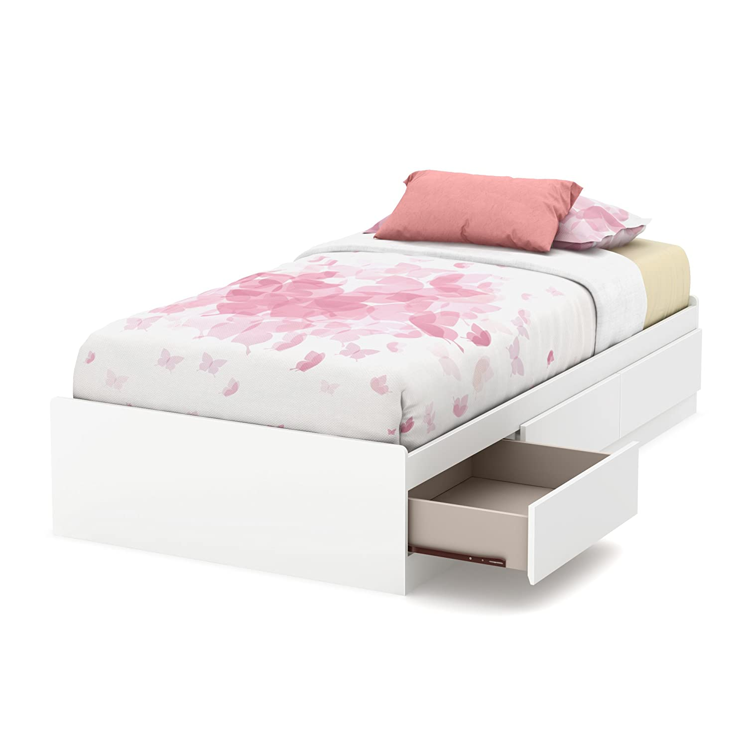 amazoncom south shore inch vito mates bed with  drawers  - south shore  callesto mates bed with  drawers twin pure white