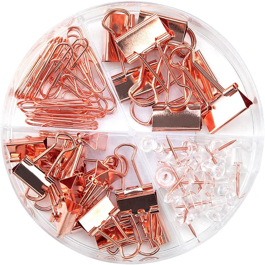 Younmi 72 Pcs Paper Clips Binder Clips Push Pins Set with Box for Office School Home Supplies, Rose Gold