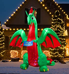 SYN 9 Ft Inflatable Christmas Dragon Decoration with LED Light for Indoor Outdoor Home Yard Lawn Garden Party