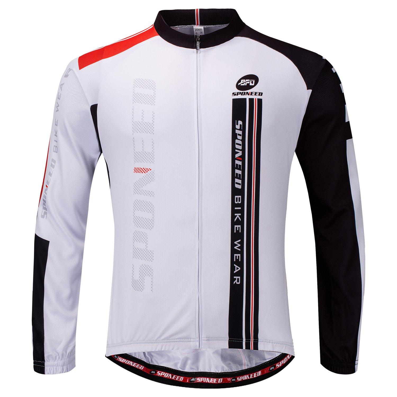sponeed メンズ 自転車シャツ 長袖 バイカージャージ フルジッパー 冬用 サイクリングギア 通気性あり Asia L=US Medium ホワイト B075ZVSRFM