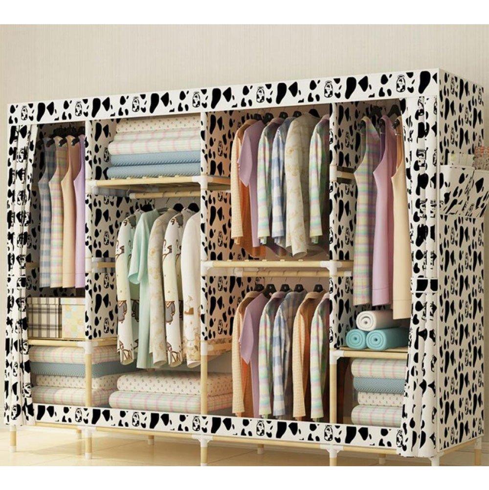 Solid Wood Wardrobe Oxford Cloth Free Standing Storage Organizer - Home Decoration Portable, Detachable, Modern Economy Lightweight Clothing Closet,F,78 '' 67 '' by Fashion - wardrobe