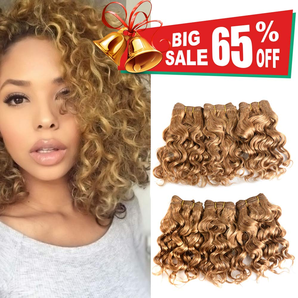 Amazon Com Violet Hair Natural Brazilian Dark Blonde Human Hair Extensions Short Curly Hair Bundles 27 Golden Virgin Human Hair Bundles Deep Curly Weave Beauty