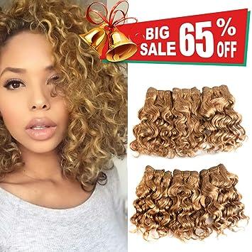 Natural Brazilian Dark Blonde Human Hair Extensions Short Curly Hair Bundles 27 Golden Virgin Human Hair Bundles Deep Curly Weave