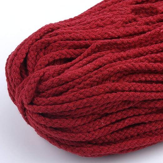 6SHINE Cuerda de macramé 5 mm x 90 m, algodón natural, suave, sin ...