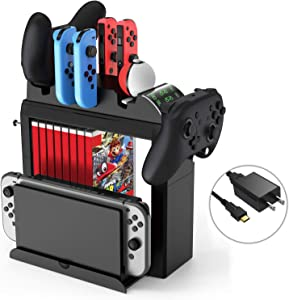Game Storage Tower for Nintendo Switch, Kinvoca Switch Organizer Compatible with Console and Switch Accessories, Multi-Function Charging Station with Fast Charger