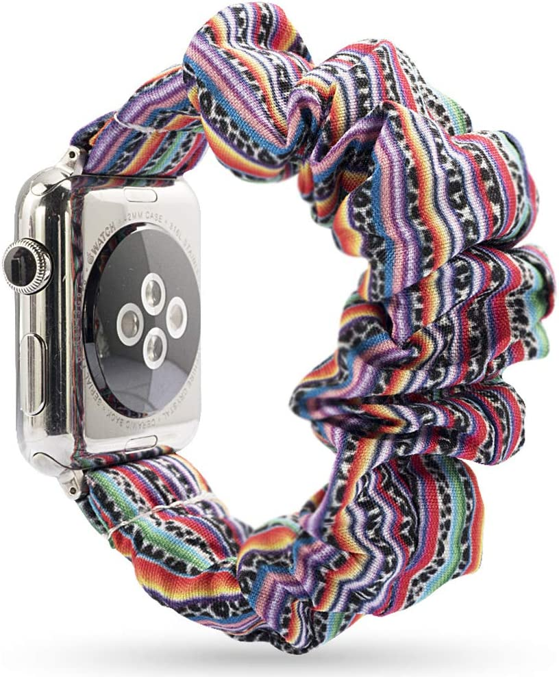 Miimall Compatible with Apple Watch Band 38mm 40mm Women, Soft Scrunchie Band Replacement for Apple Watch SE Series 6/5/4/3/2/1 38/40mm(Bohemian Printed)