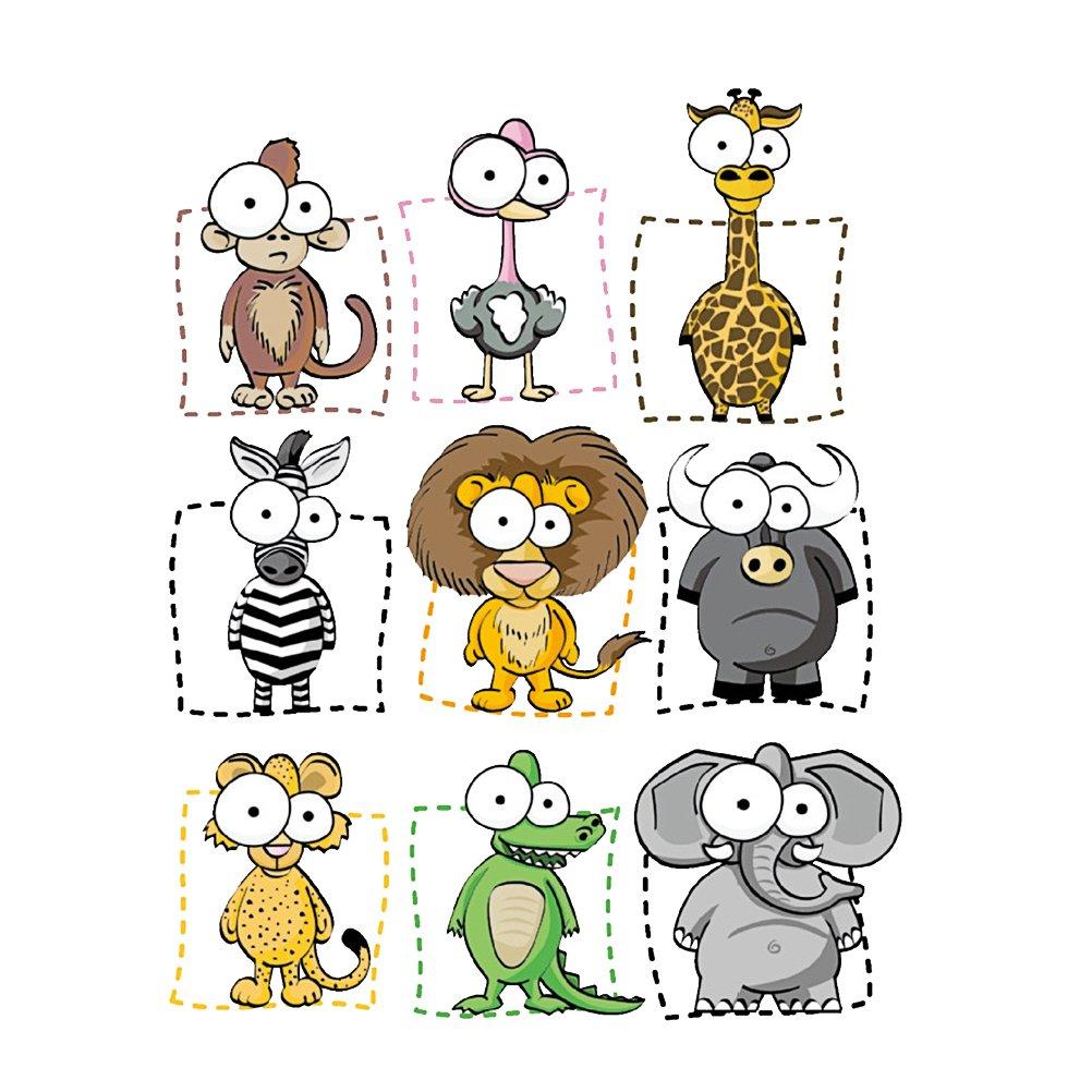 Vosarea Adesivi murali Animali smontabili del fumetto Grandi occhi Nursery Decor Camera dei bambini Decorazione murale