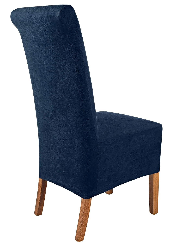 SCHEFFLER-Home Leon 2 Fundas de sillas, Estirable Cubiertas, Polipiel extraíble flexibel Funda con Banda elástica, Azul