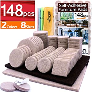 Furniture Pads 148 pcs Self Adhesive Felt Furniture Pads Heavy Duty Anti Scratch Furniture Felt Pads Chair Leg Floor Protectors for Chair Legs Feet Protect Hardwood Laminate Tile Floor, Assorted Size