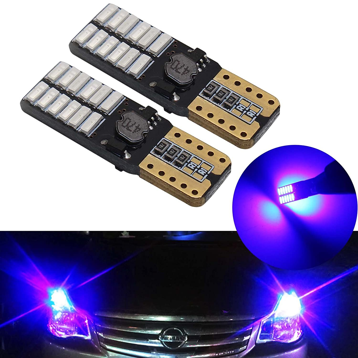YaaGoo 10pcs purplr 168 194 501 Wedge LED Bulbs Super Bright White For Car Interior Exterior Dome Map Door Courtesy License Plate Light Bulb