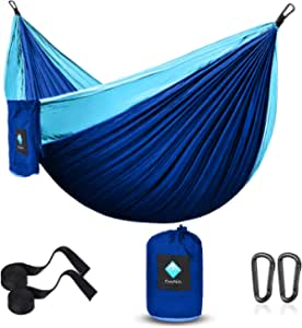 CozyHoliv Camping Hammock, Portable Parachute Hammocks for Outdoor Hiking Travel Backpacking - 210D Nylon Hammock Swing for Backyard & Garden