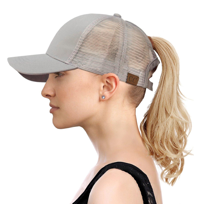 da66585c01a49b FADA Ponytail Baseball Cap Hat Ponycap Messy High Bun Adjustable Mesh  Trucker Baseball Cap Summer Hats