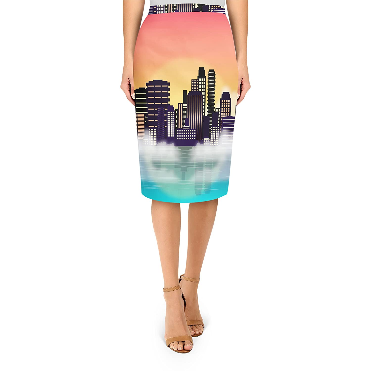 City Sunset Midi Pencil Skirt