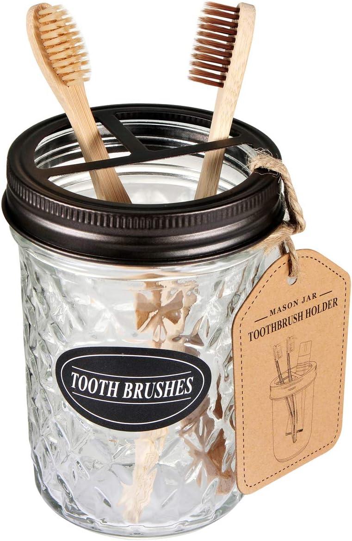Amolliar Mason Jar Toothbrush Holder