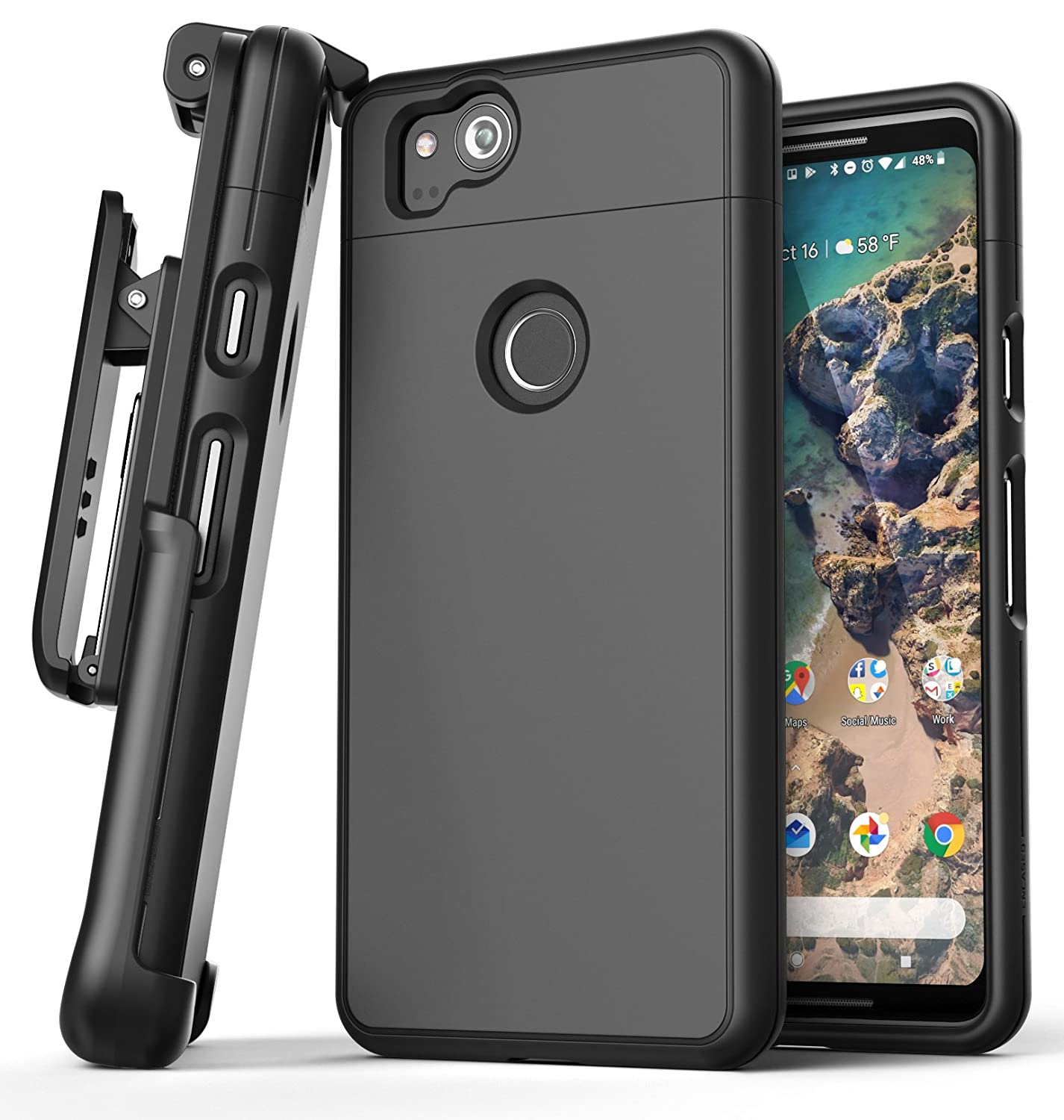 lowest price 5b786 1370a Google Pixel 2 XL Belt Case [SlimShield Edition] Protective Grip Case with  Holster Clip for Pixel 2 XL (Black) by Encased