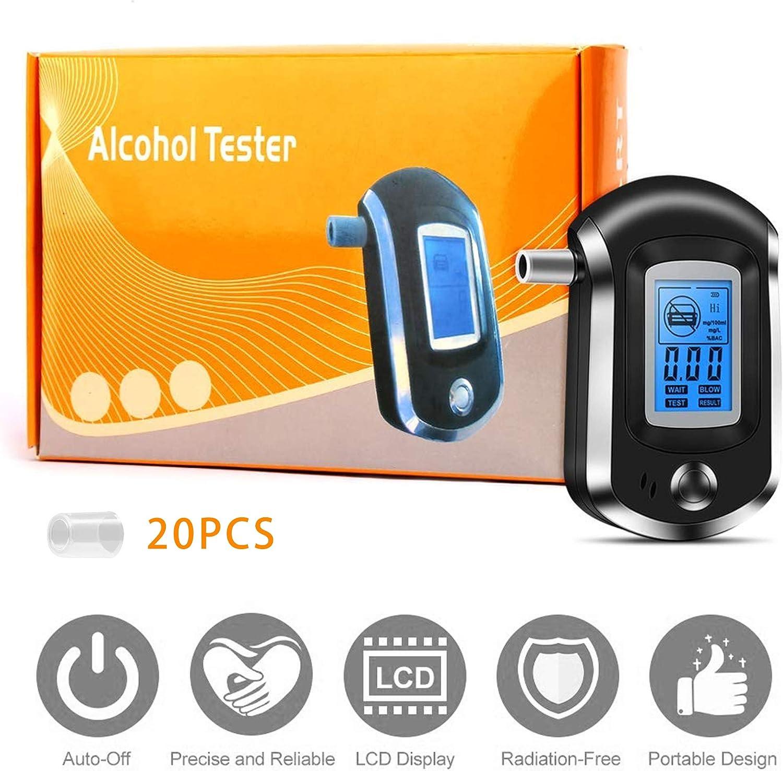 Profesional Probador Port/átil de Alcohol con Pantalla LCD con Aliento Alerta Audible Huttoly Alcohol/ímetro Digital con 20 Boquillas