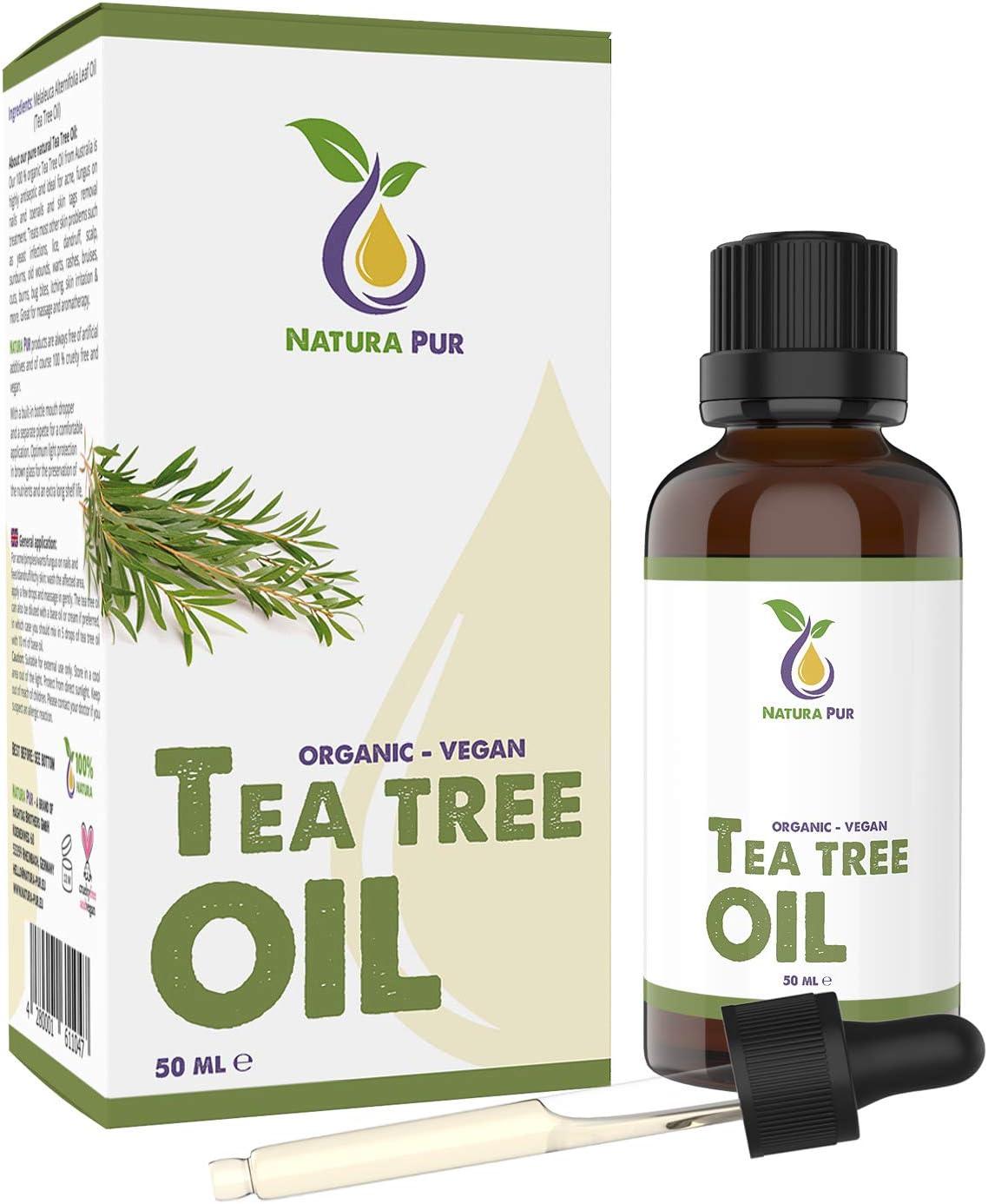 NATURA PUR Aceite Esencial de Arbol de Te 50ml - 100% orgánico y puro para cara y cuerpo - Tea Tree Oil para Tratamientos de Acné y Piel Grasa