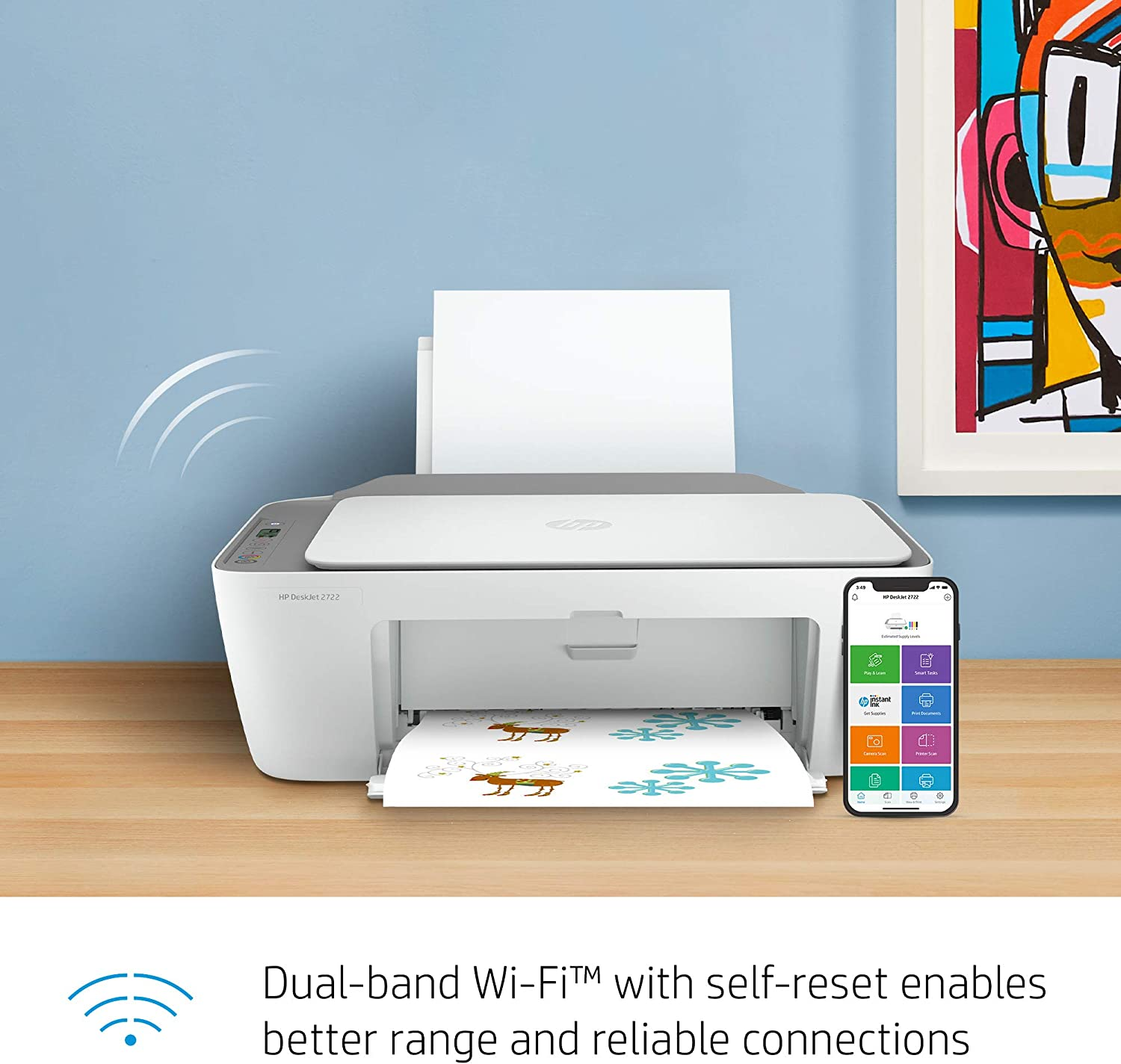 HP DeskJet 2722 All-in-One Printer- Print Copy Dual-Band Wi-Fi and scan with All-in-one Color Inkjet Printer BROAGE USB Pen Bluetooth Copy Business Office Bundle,6 Feet USB Printer Cable