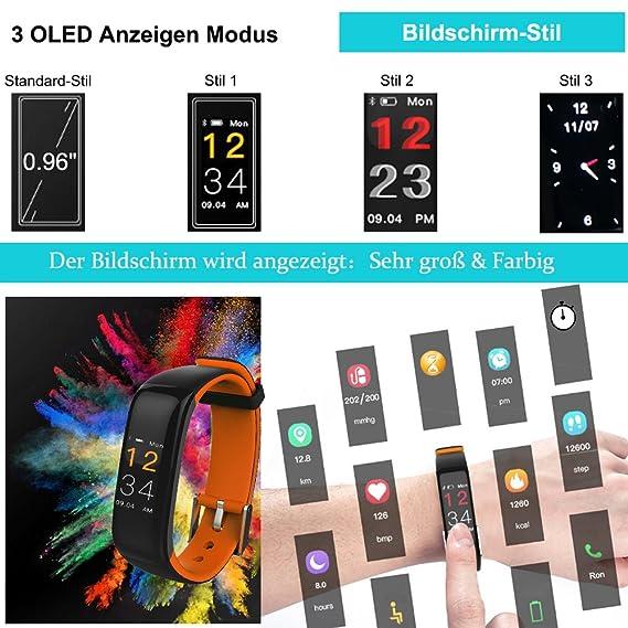 Pulso Reloj con Tensiómetro, roguci Multicolor OLED 0.96 pulgadas podómetro pulsera de actividad Tracker - Rastreador de fitness con conexión Bluetooth de ...
