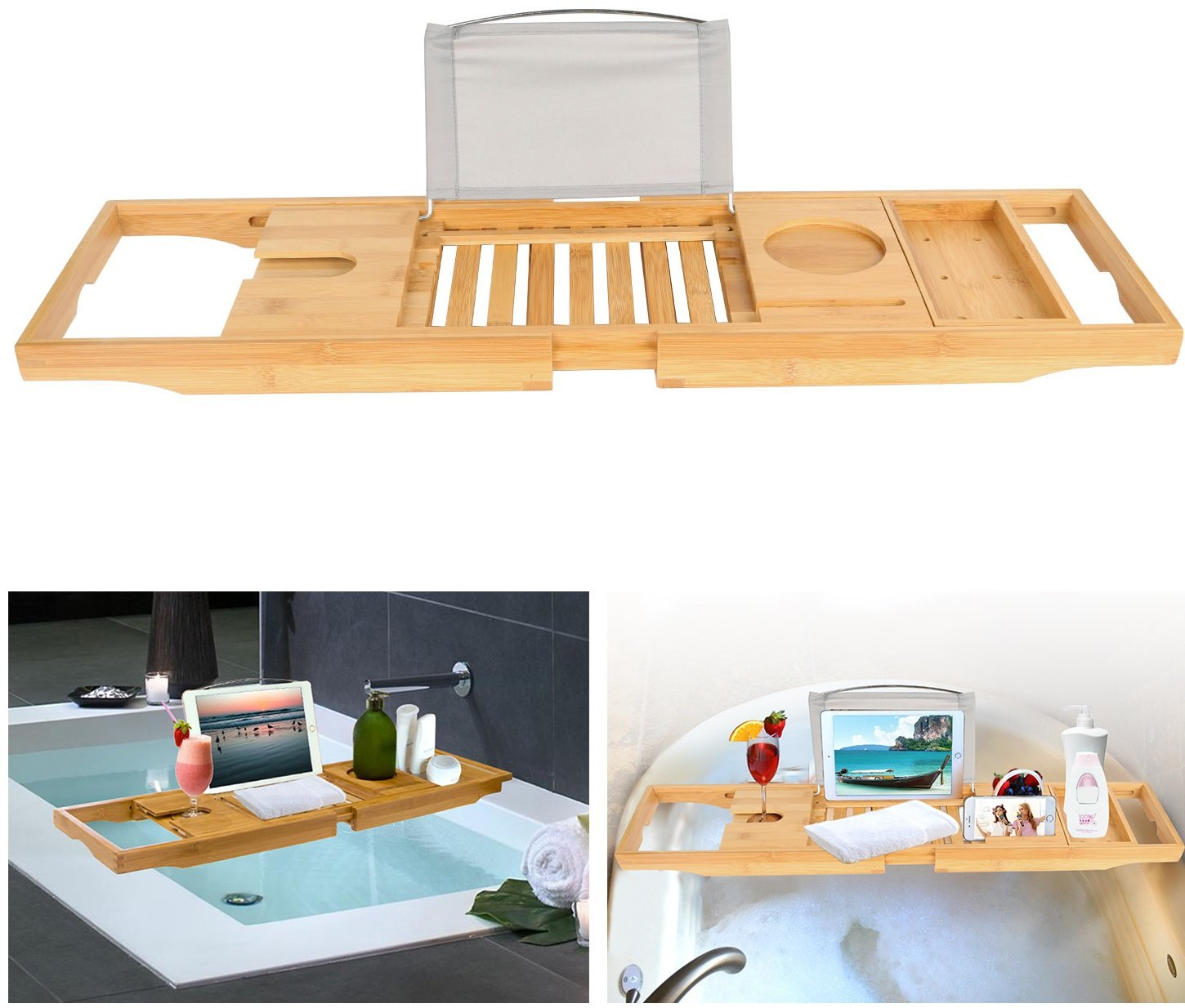 【Water Resistant/Rust Proof】iMounTEK Bamboo Bathtub Expandable/Adjustable Caddy Tray Organizer- Wine Glass Holder, Book/Tablet Holder, Mug/Cup/Phone/Towel/Slot. Non-Slip Rubber Base W/ Sliding Tray