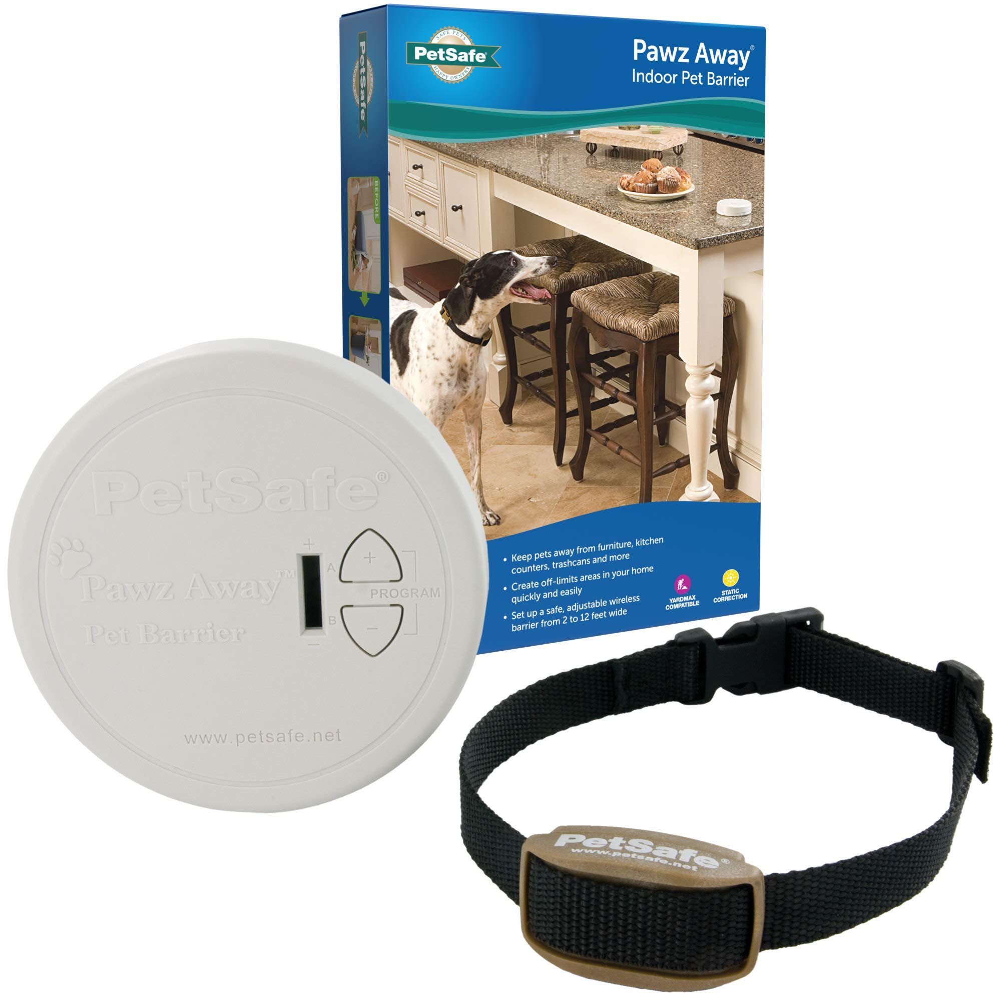 PetSafe Pawz Away Pet Barriers with Adjustable Range, Pet Proofing for Cats and Dogs, Static Stimulation – Wireless Pet Gate Keeps Areas Off Limits, Battery-Operated