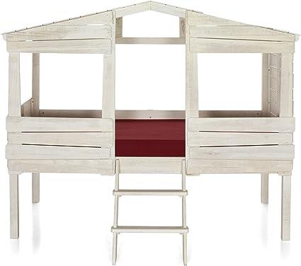 Alinea Woody Wood Lit Cabane 90x200cm Blanc 221 0x178 2x141 5 Amazon Fr Cuisine Maison