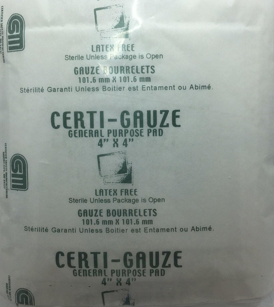 "Gauze Pads - 4"" x 4"" - Certi-Gauze- Certified (231-207) 100/bag by Certified Safety (Image #1)"