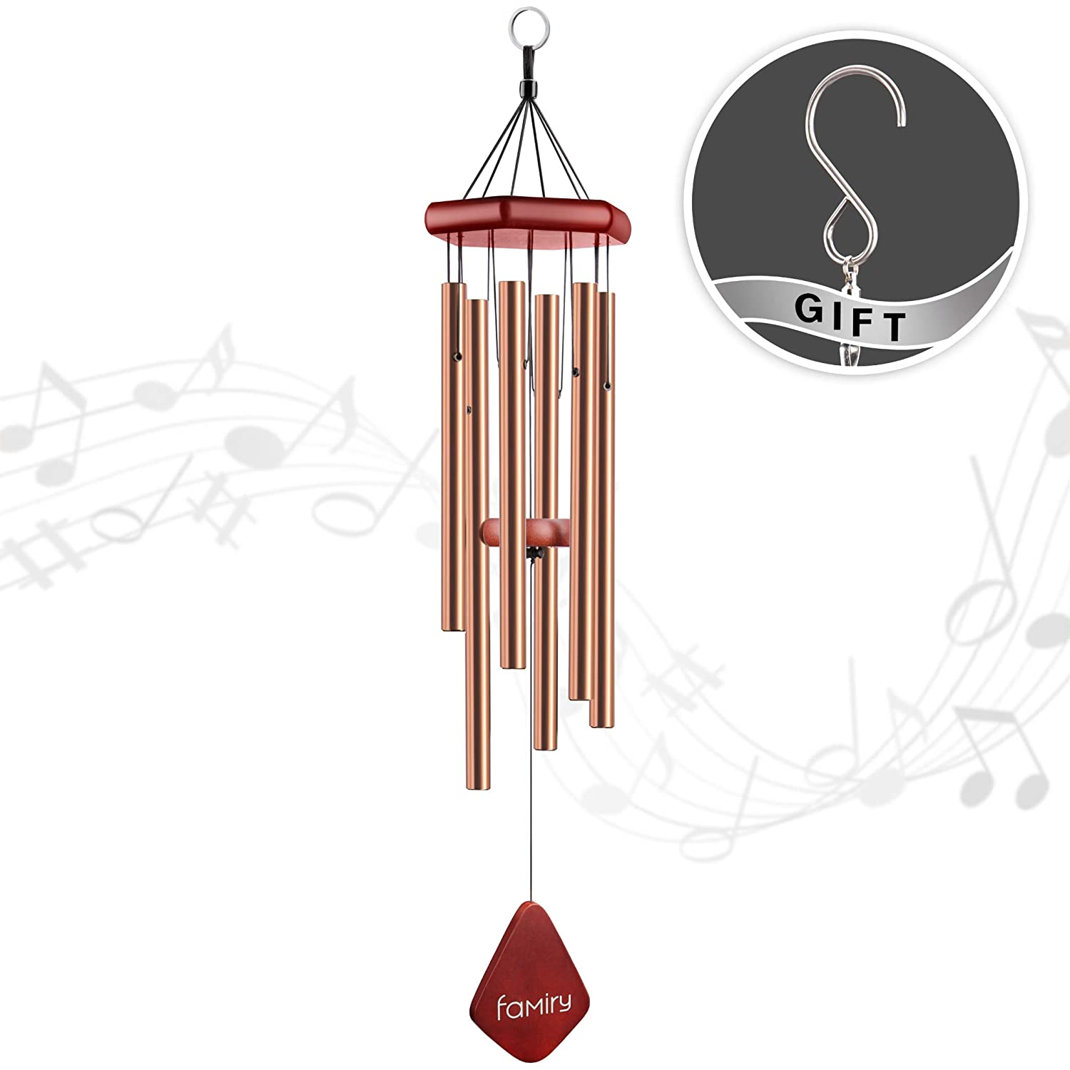 Famiry Wind Chimes Outdoor Deep Tone, 32 Inch Amazing Grace Wind Chimes, Memorial Wind Chimes with 6 Metal Tubes & Hook, Outdoor Decor for Garden, Patio, Yard, Home