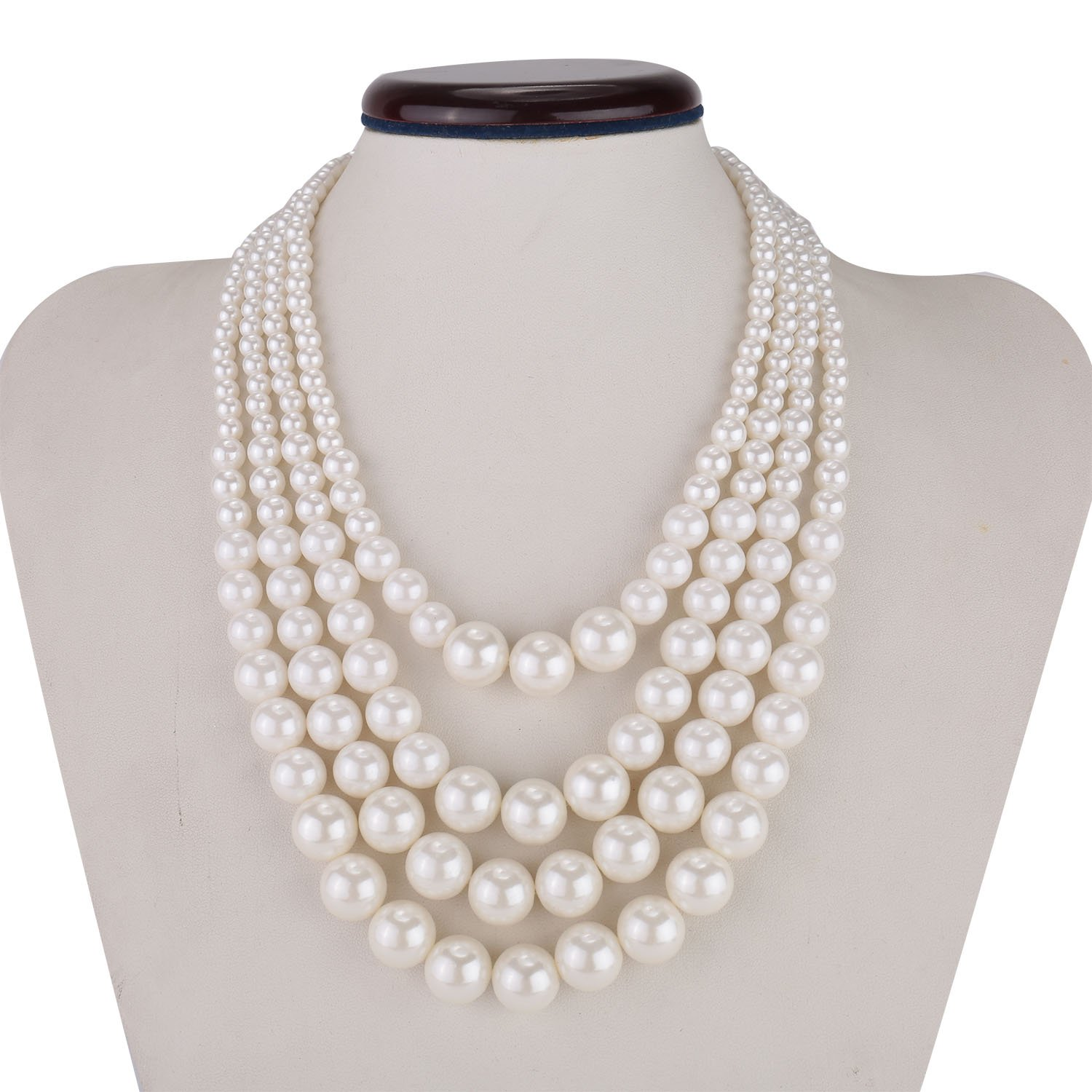Kalse Multiple 3 4 5 Layer Simulated Pearl Strand Bib Pendant Long Necklace 17.3-25