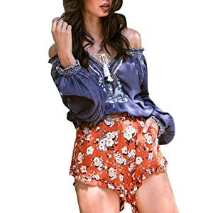 Shorts WILLTOO ✿Women Summer Shorts Floral Printing Fashion Shorts Pants (M)