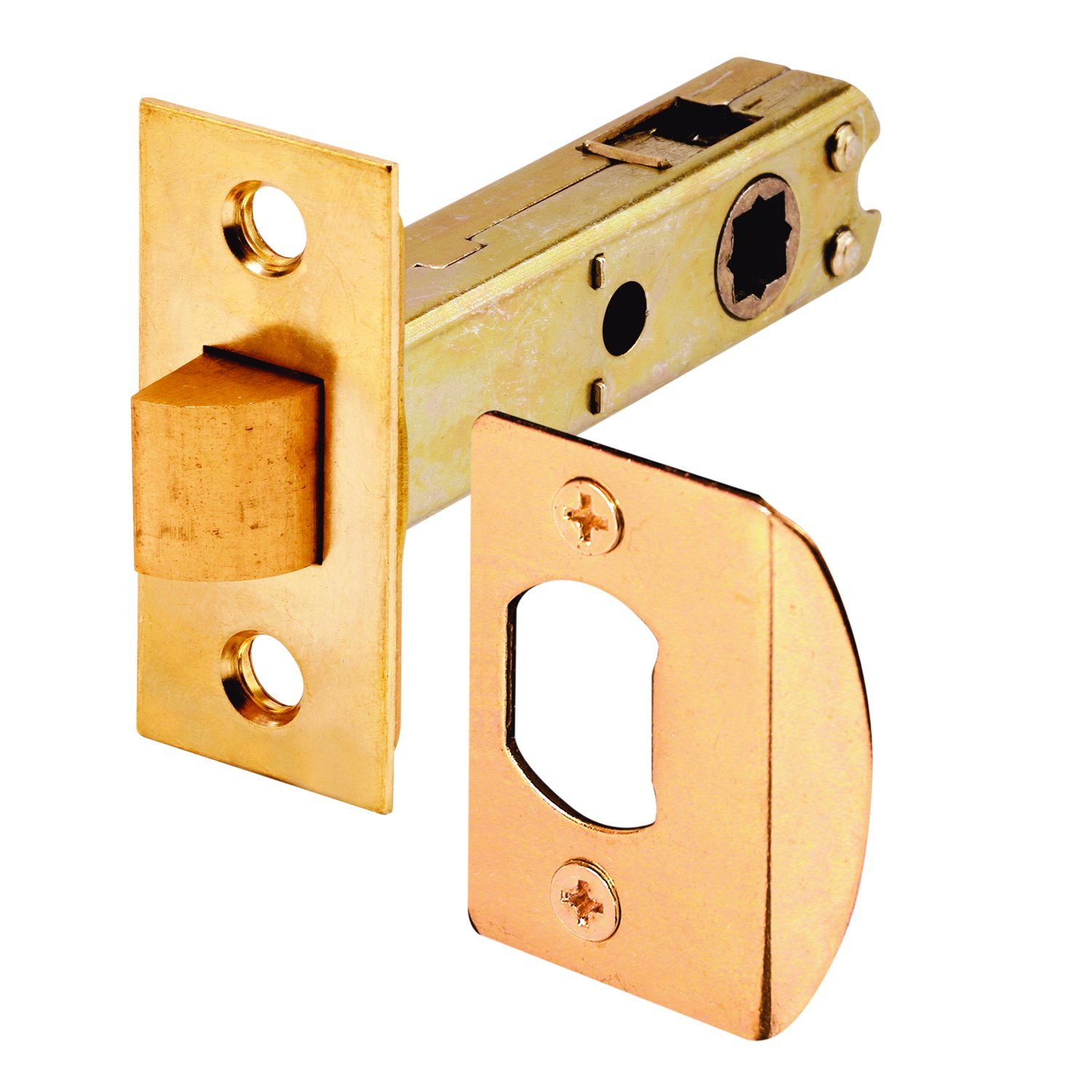 Prime Line Products E 2281 Passage Door Latch 9 32 in. 5 16 in. Square Drive Steel Brass Finish