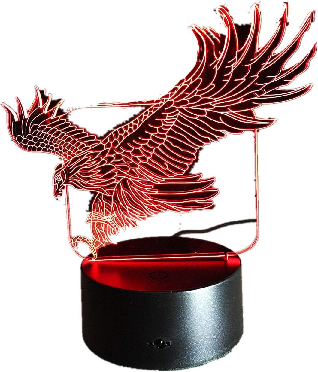 Lámpara de noche 3D de águila con 7 colores Hawk 3D con dibujos ...