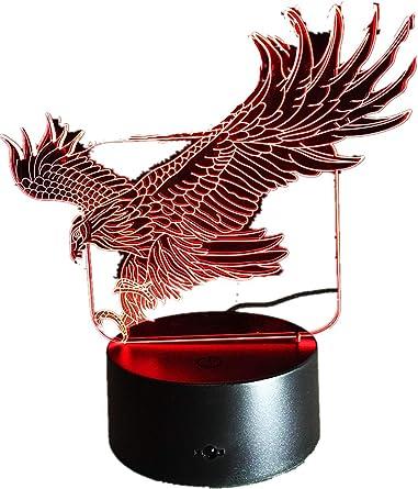 Lámpara de noche 3D de águila con 7 colores Hawk 3D con dibujos animados, lámpara de