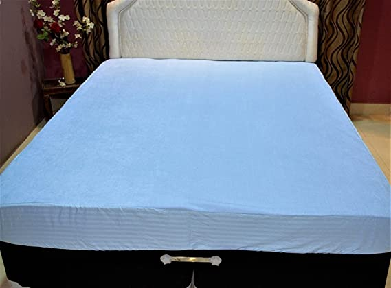 Trance Home Linen Cotton Waterproof & Dustproof Mattress Protector (Sky Blue, 78x72x7-inch)