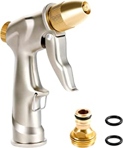 Garden Hose Nozzle Crenova 100% Heavy Duty Metal, Water Nozzle Sprayer with Full Brass Nozzle 8 Patterns, High Pressure Handheld Pistol Grip Sprayer for Watering Plants Lawn Washing Car and Pets